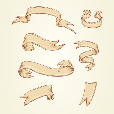 Set of the hand-drawn ribbons.  Illustration