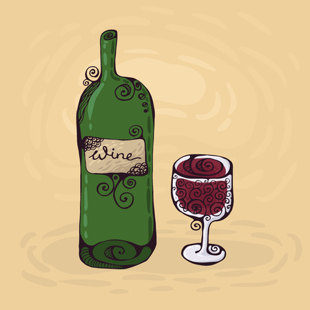 The hand-drawn illustration of the wineglass and bottle of wine.  Vector