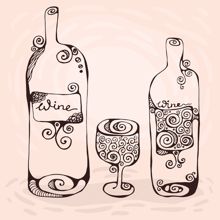 The hand-drawn decorative illustration of the wineglass and two bottles of wine.
