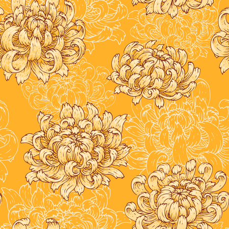 The seamless pattern with yellow chrysanthemum.