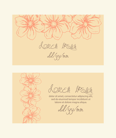 Set of two horizontal cards. Vintage pattern. Illustration