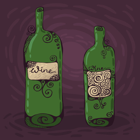 Two hand-drawn wine bottles.  Illustration