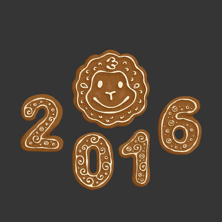 Gingerbread Christmas Cookies hand-drawn illustration. 2016 the year of monkey in chinese zodiac Illustration