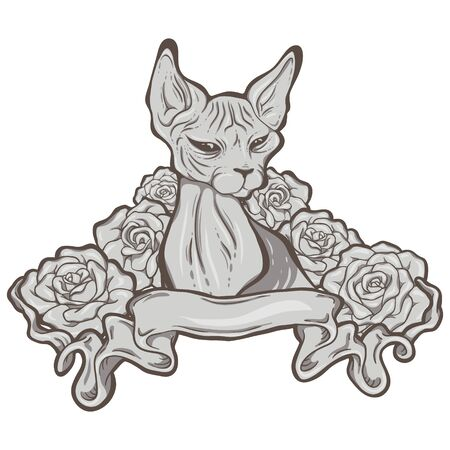 The hand-drawn illustration of the sphinx cat with ribbon and roses.