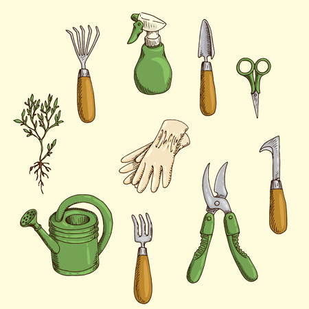 Set of hand-drawn illustration of the garden tools Illustration
