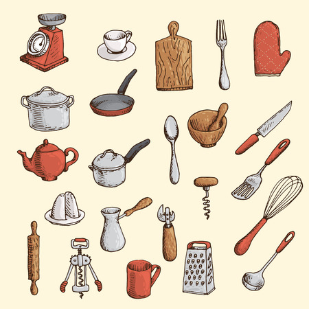 Colored hand-drawn set of kitchen utensil