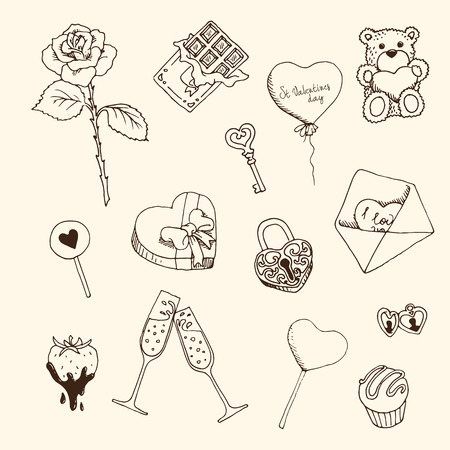 Set of graphic hand-drawn elements for St.Valentines Day Illustration