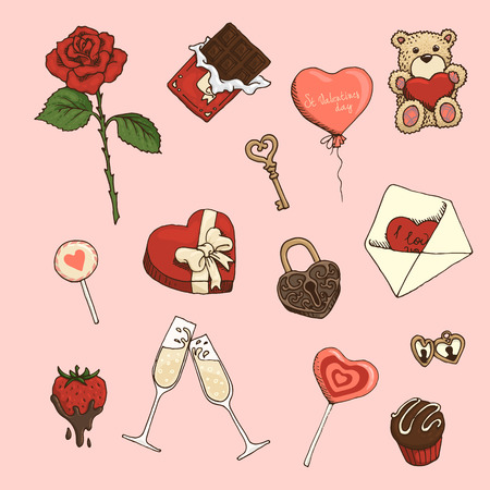 Set of colored hand-drawn elements for St.Valentines Day Illustration