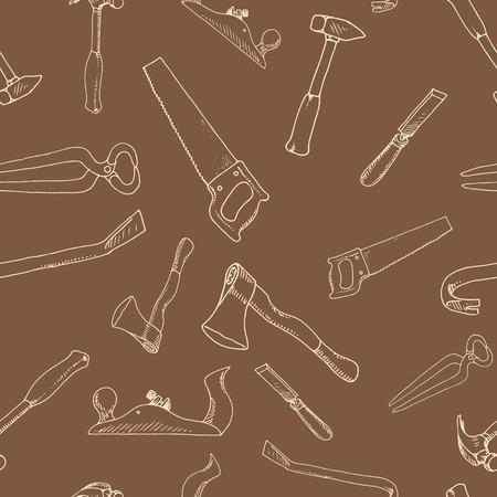 carpenter tools: The hand-drawn carpenter tools pattern