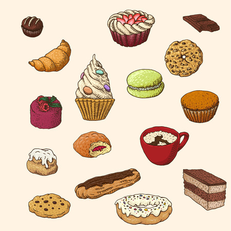 Set of the hand-drawn sweets