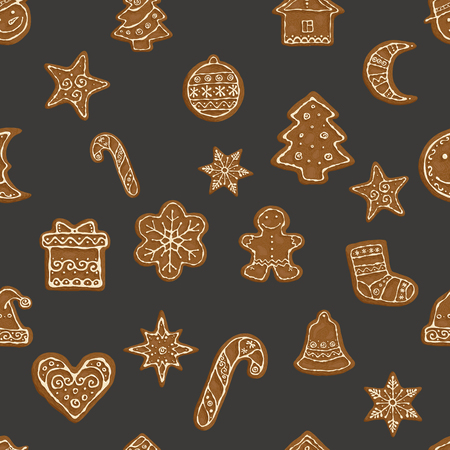 Hand-drawn seamless pattern Gingerbread Christmas cookies. Illustration