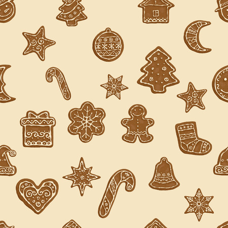 Hand-drawn seamless pattern Gingerbread Christmas cookies. Vector