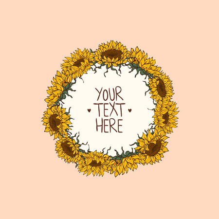 Wreath with hand-drawn flowers of sunflowers