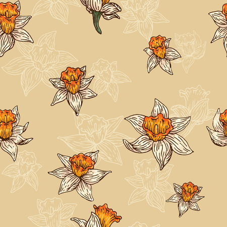 Seamless pattern with hand-drawn narcissus.