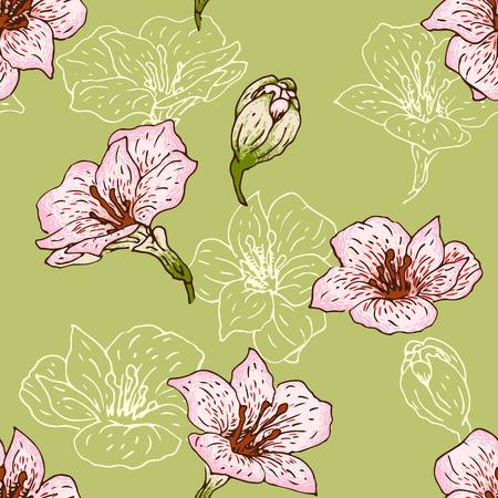 alstromeria: Seamless pattern with hand-drawn flowers of  alstroemeria