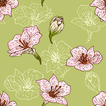 Seamless pattern with hand-drawn flowers of  alstroemeria