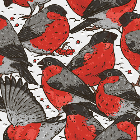 Seamles hand drawn pattern with bullfinches on the snow Illustration