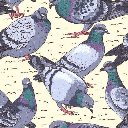 Urban birds pattern isolated on  light background.