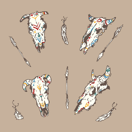 Cow sculls with arrows and feathers Illustration