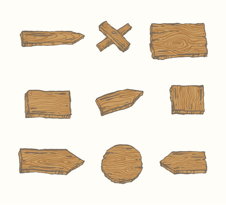 Hand drawn wooden signs Vector illustration.