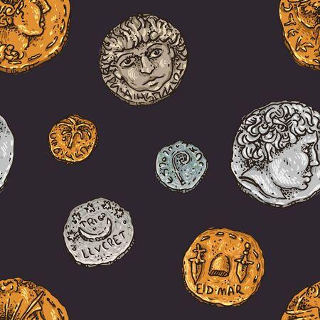 Ancient Romecoins pattern Illustration