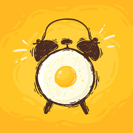 Hand drawn cartoon vector illustration of the alarm clock with fried egg