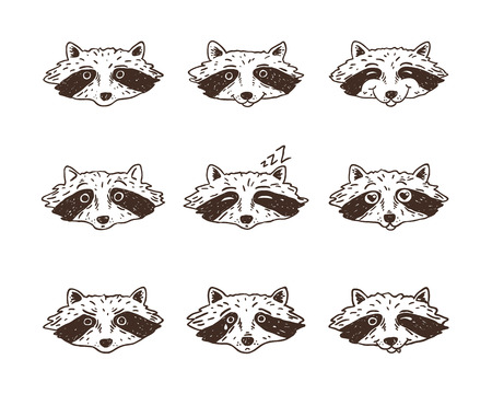 Vector set of cute cartoon racoons with various emotions.