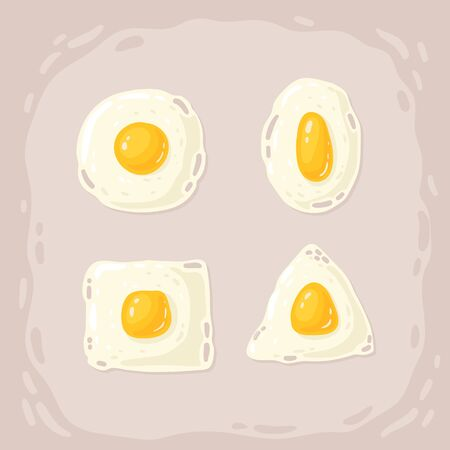 Set of fried eggs in diferent shapes