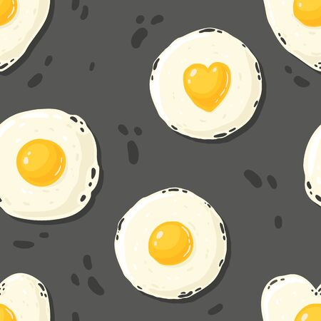 cartoon pattern of the fried eggs in the different shapes