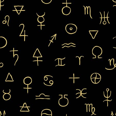 Dark seamless pattern of the alchemical simbols