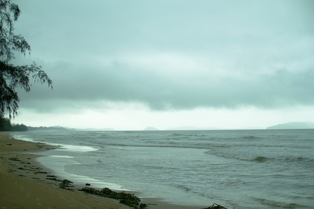 squall: tropical beach during rainy season, storm approaching Stock Photo