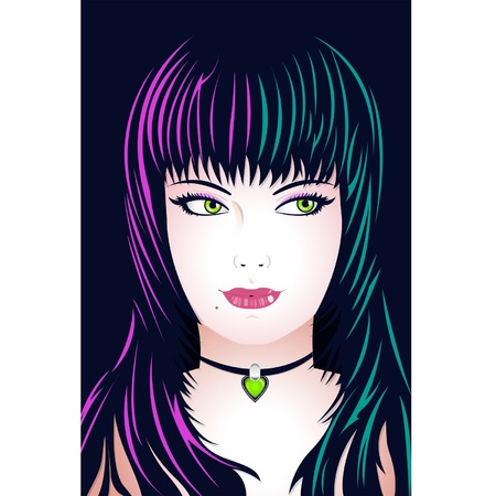 Pretty girl face with color hair lights Vector