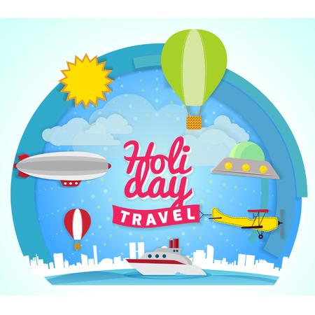 flying boat: Holiday travel concept illustration