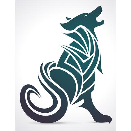 lobo: Lobo que grita diseño del tatuaje tribal Vectores