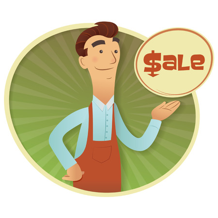 Friendly shopkeeper offering a discount stamp icon Vector