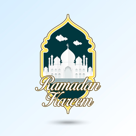 Illustration of ramadan kareem. Islamic greeting paper cut style with mosque, minaret, and clouds in frame decoration. For web banner, greeting card, and poster template. Vettoriali