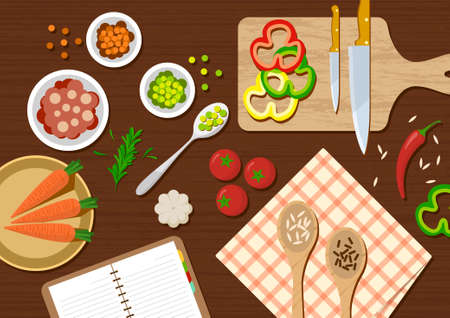 flat kitchen table for cooking suitable for banner, flyer, restaurant or cafe menu list, and more. flat design background.
