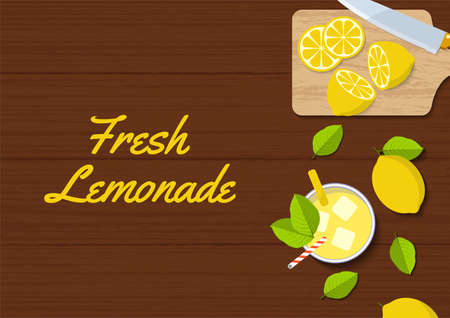 top view flat kitchen table design. fresh lemonade juice on wooden table from above with lemon fruit suitable for social media post, banner, flyer, restaurant or cafe menu list, and more 向量圖像