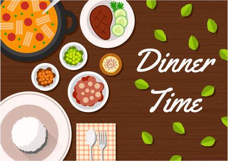 flat dinner time top view, suitable for banner, flyer, restaurant or cafe menu list, and more. flat design background. 向量圖像