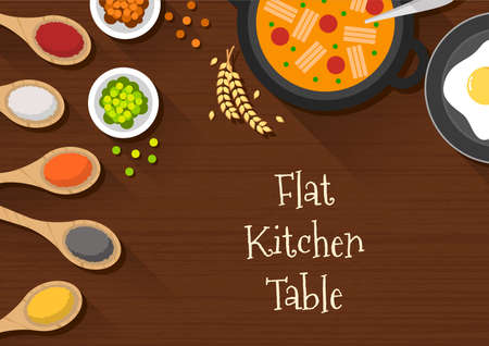 flat design of kitchen table top view. wooden kitchen table suitable for banner, flyer, restaurant or cafe menu list, and more. flat design background. 向量圖像