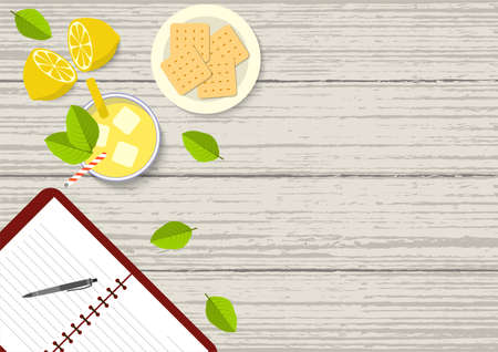 Flat vector illustration of mahogany dining table from above. Top view illustration of dinning table with open book, lemonade, lemon fruit, cracker biscuits, and leaves on mahogany table.