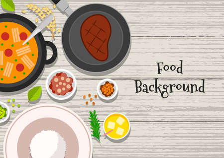 Food vector illustration. Background of food dishes. Food on a wooden table. Ilustrace