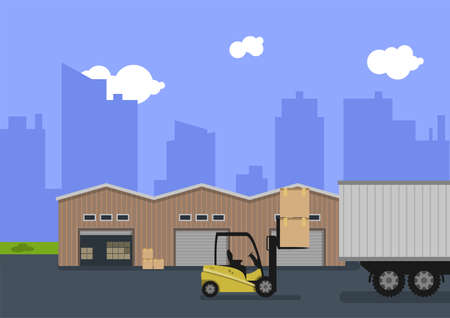 Illustration of a storage area with a warehouse building and a forklift. The flat illustration, design is suitable for graphic design resources