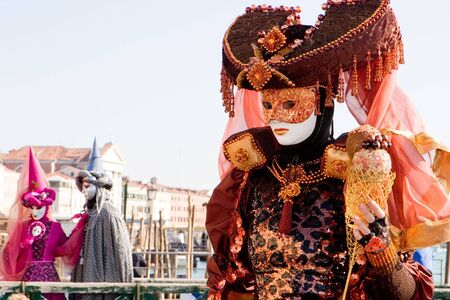 customs and celebrations: A woman in costume at the Venice Carnival