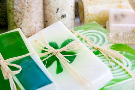 soothe: Close up of soap and bath salts