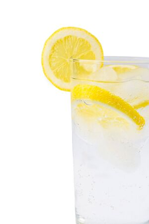 rehydration: Sparkling ice water with slices of lemon Stock Photo