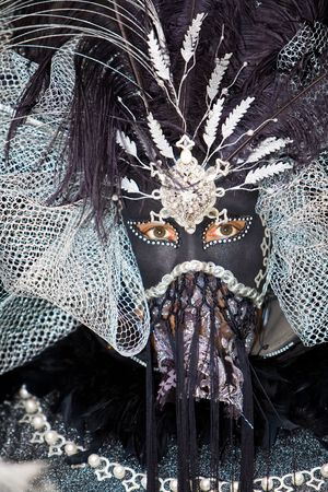 customs and celebrations: Black and silver mask at the Venice Carnival Stock Photo