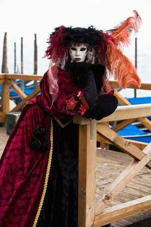 customs and celebrations: Colorful costume at the Venice Carnival
