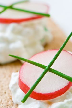 Cottage cheese on crispbread with radish Standard-Bild