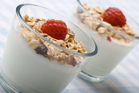 Deliciously fresh yogurt and muesli in a glass